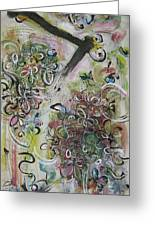 Green Pink Brown Abstract Art Spring Color Blossom Flower Butterfly Painting Abstract Acrylic Ink Ar Greeting Card