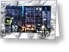 Green Pipes Of Pompidou Center Paris Greeting Card