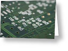 Green Printed Circuit Board Closeup Greeting Card