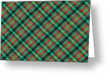 Green Red And Black Diagonal Plaid Textile Background Greeting Card