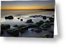 Green Rocks At Sunset Greeting Card