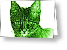 Green Savannah Cat - 5462 F S Greeting Card