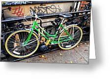 Green Schwinn Bike  Nyc Greeting Card
