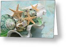 Green Shells And Sea Glass Greeting Card