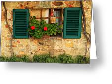 Green Shutters And Window In Chianti Greeting Card