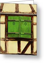 Green Shutters In Colmar France Greeting Card