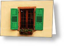 Green Shutters In Niedermorschwihr France Greeting Card