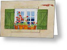 Green Shutters With Red Flowers Greeting Card