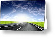 Green Sky Road Greeting Card