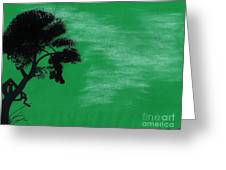 Green Sky Sunset Greeting Card