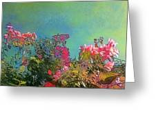 Green Sky With Pink Bougainvillea - Square Greeting Card