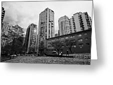 Green Space In Front Of High Rise Apartment Condo Blocks In The West End Between Robson And West Geo Greeting Card