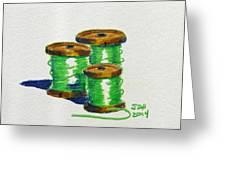 Green Spools Of Thread Greeting Card