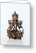 Green Tara Goddess Statue Greeting Card