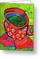 Green Tea In Red Cup Greeting Card
