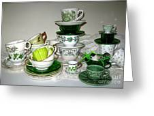 Green Teacups  Greeting Card