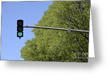 Green Traffic Light By Trees Greeting Card