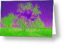 Green Tree And Purple Sky Greeting Card