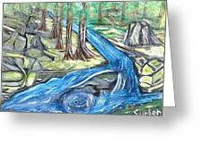 Green Trees With Rocks And River Greeting Card