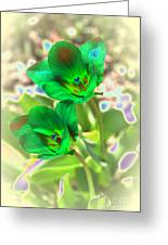 Green Tulips Greeting Card