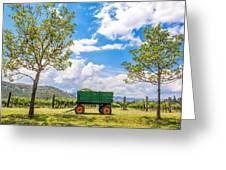 Green Wagon And Vineyard Greeting Card