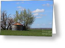 Green Wheatfield With An Old Grain Bin Greeting Card
