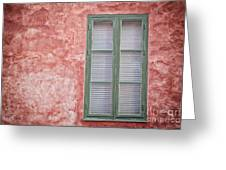 Green Window On Red Wall. Greeting Card
