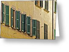 Green Window Shutters Of Florence Greeting Card