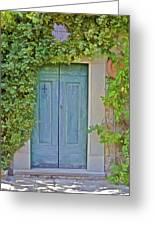 Green Wood Door Of Tuscany Greeting Card