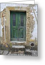 Green Wood Door With Hand Carved Stone In The Medieval Village Of Obidos Greeting Card