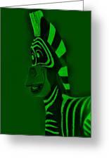 Green Zebra Greeting Card