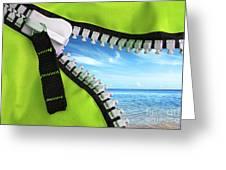 Green Zipper Greeting Card