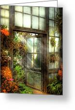 Greenhouse - The Door To Paradise Greeting Card by Mike Savad