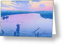 Greeting Card People Canoeing To Camp Sunset Landscape Greeting Card