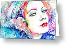 Greta Garbo - Colored Pens Portrait Greeting Card