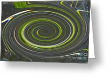 Grey And Green Twirl Greeting Card