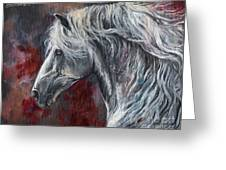 Grey Andalusian Horse Oil Painting 2013 11 26 Greeting Card