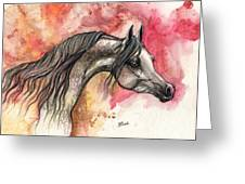 Grey Arabian Horse On Red Background 2013 11 17  Greeting Card