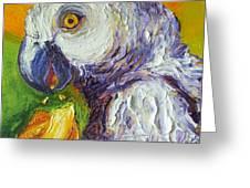 Grey Parrot And Juicy Mango Greeting Card by Paris Wyatt Llanso