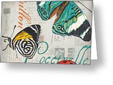 Grey Postcard Butterflies 2 Greeting Card by Debbie DeWitt