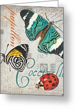 Grey Postcard Butterflies 2 Greeting Card