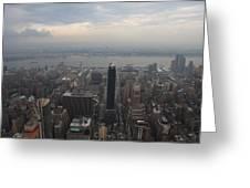 Grey Sky Over Manhattan Greeting Card