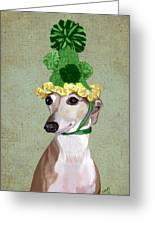 Greyhound Green Bobble Hat Greeting Card