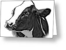 Greyscale Cow Holstein - 0034 Fs Greeting Card