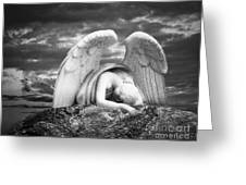 Grieving Angel Greeting Card by Olga Zamora