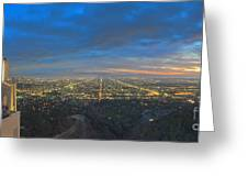 Griffith Observatory L.a. Skyline Dusk Lit Beautiful Greeting Card