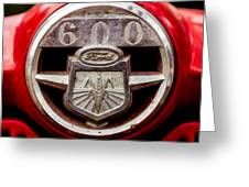 Grill Logo Detail - 1950s-vintage Ford 601 Workmaster Tractor Greeting Card