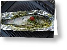 Grilled Trout On Barbecue Greeting Card