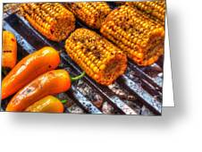 Grilling Corn And Peppers Greeting Card