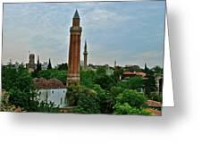 Grooved Minaret Fromthirteenth Century In Antalya-turkey Greeting Card